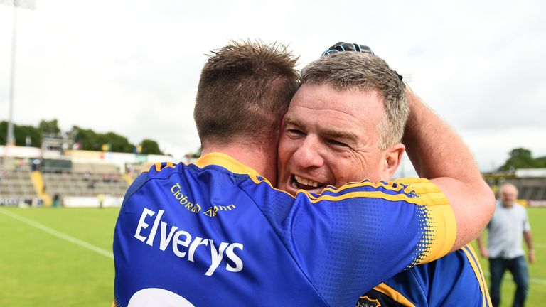 Tipperary manager Liam Kearns celebrates with Peter Acheson after the final whistle
