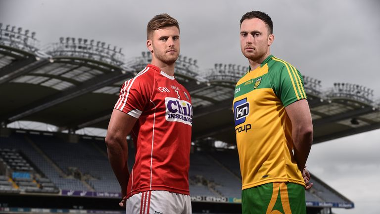 Martin McElhinney (right), pictured alongside Eoin Cadogan, starts at midfield for Donegal