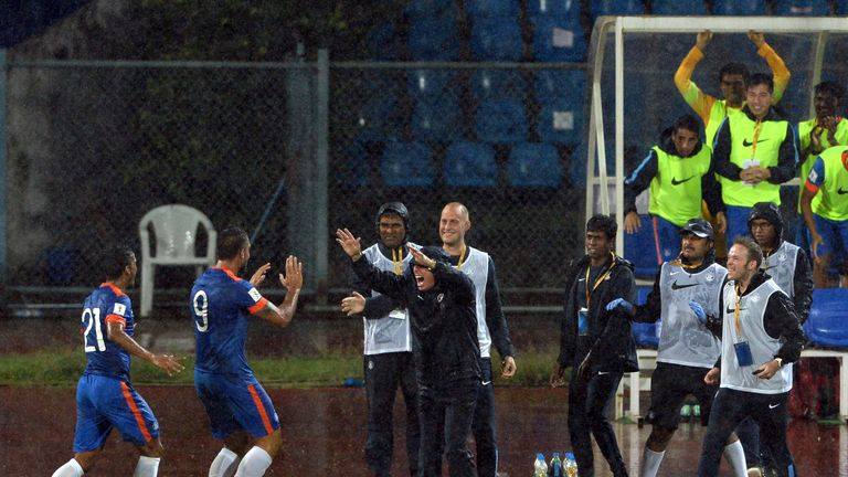 Celebrations for India during a World Cup qualifier against Guam