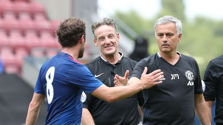 Mourinho (right) says Juan Mata is happy at Man United and ready to fight for his place