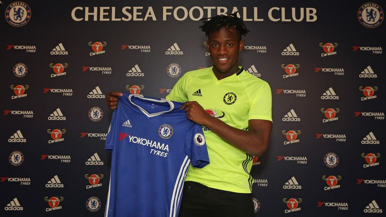 Chelsea's new signing Michy Batshuayi at their training ground