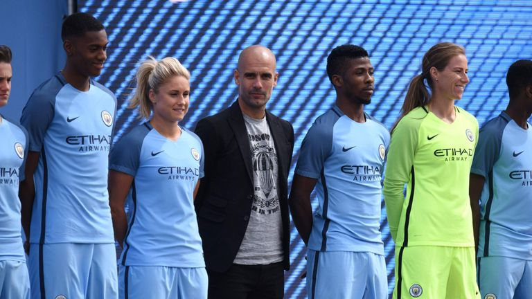 Pep Guardiola joins Kelechi Iheanacho and Steph Houghton at the launch of the new Manchester City home kit