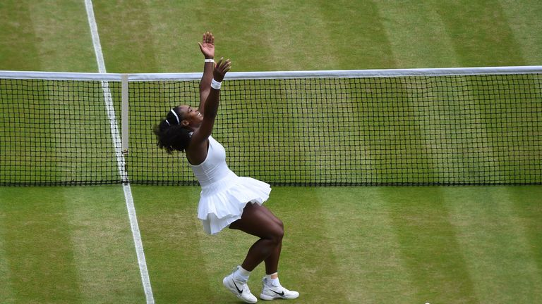 Williams celebrates after converting match point on Centre Court