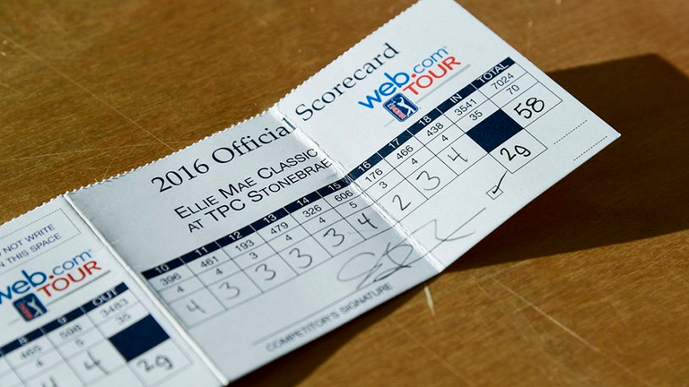 You don't see this too often! Stephan Jaeger's first-round card. (pic from WebDotComTour)