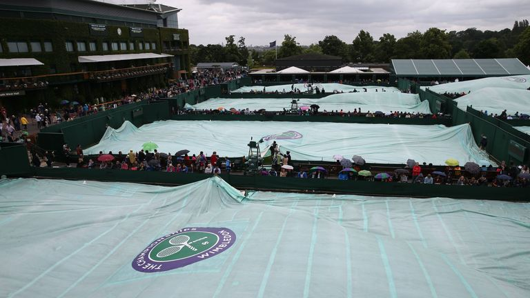The rain covers have been a regular feature at Wimbledon this week