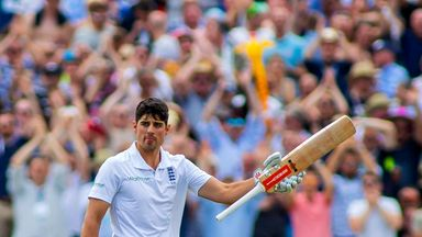 Alastair Cook of England celebrates scoring a century during day one of the 2nd Investec Test match between England and Pakistan