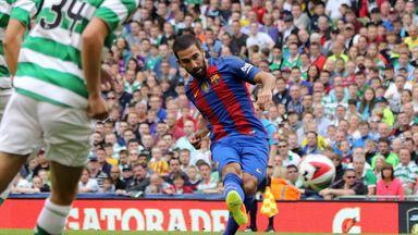 Barcelona's Turkish midfielder Arda Turan scores the opening goal of the pre-season International Champions Cup football match between Spanish champions, B