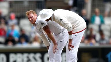 Stuart Broad shows concern for his stricken team-mate Ben Stokes at Old Trafford