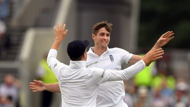 Chris Woakes celebrates with Gary Ballance (l) after dismissing Mohammad Hafeez