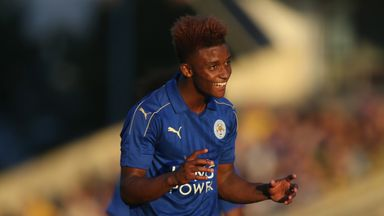 Demarai Gray celebrates scoring for Leicester