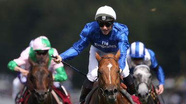 James McDonald, riding Dutch Connection, celebrates after winning the Qatar Lennox Stakes at Goodwood