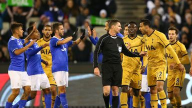 Juventus celebrates their second goal against Tottenham