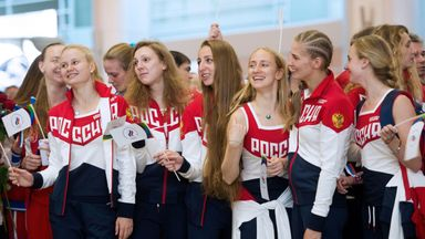Russian Olympic team members attend a farewell ceremony at Moscow's Sheremetyevo airport