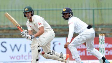 Australia's Steve O'Keefe battles in vain against Sri Lanka on Saturday