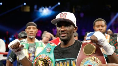 Terence Crawford celebrates his victory over Viktor Postol