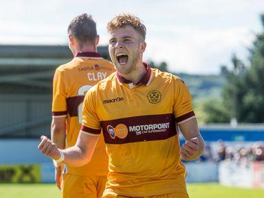 Motherwell midfielder Chris Cadden celebrates a goal