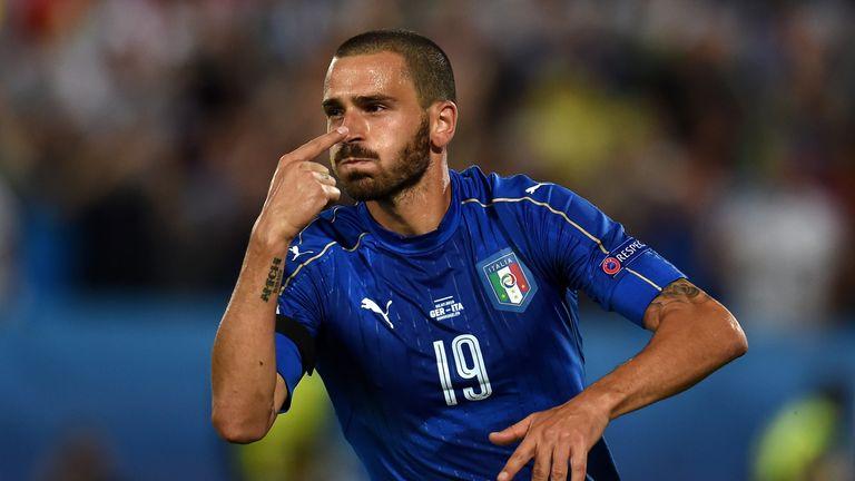 Leonardo celebrates scoring Italy's equaliser from the penalty spot
