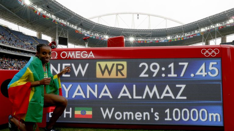 Ayana of Ethiopia celebrates winning the women's 10,000m at the Rio Games