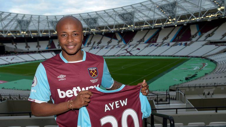 Andre Ayew poses at West Ham's London Stadium