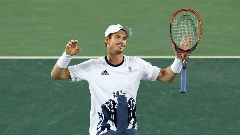 Murray celebrates his gold medal winning win over Juan Martin Del Potro