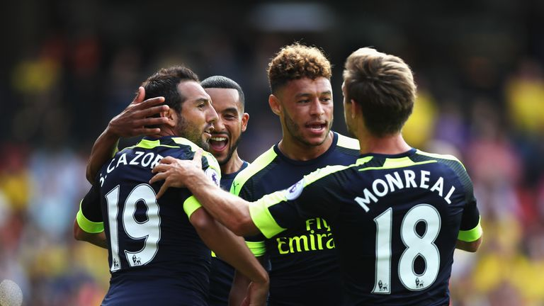 Santi Cazorla of Arsenal celebrates scoring his side's first goal
