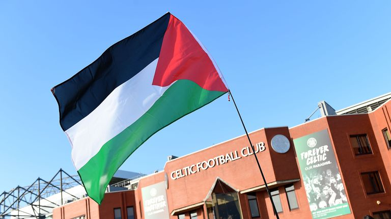 It was the second time in recent years Palestine flags have been waved at Celtic Park following a similar incident in 2014