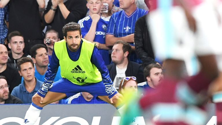 Cesc Fabregas was an unused substitute during Chelsea's 2-1 victory over West Ham