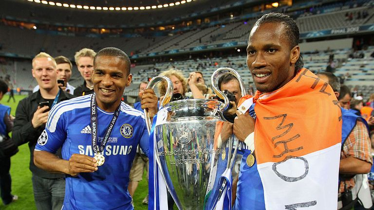 Drogba (R) was part of Chelsea's Champions League winning side of 2012