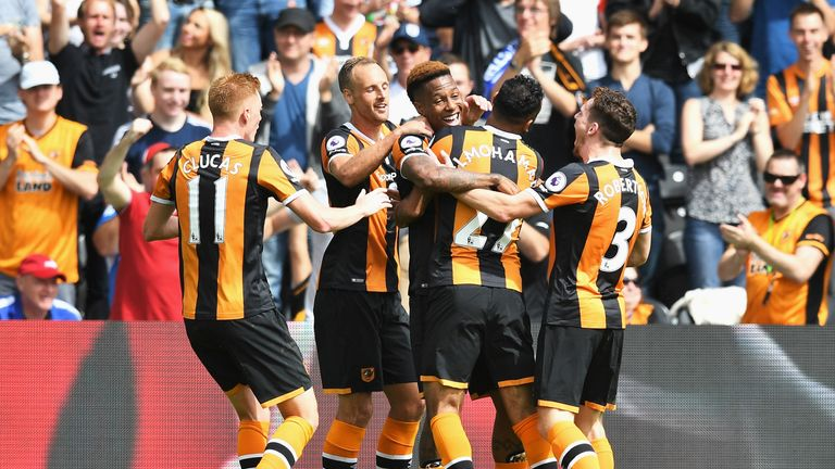Hull celebrate Adama Diomande's opener in first-half stoppage time