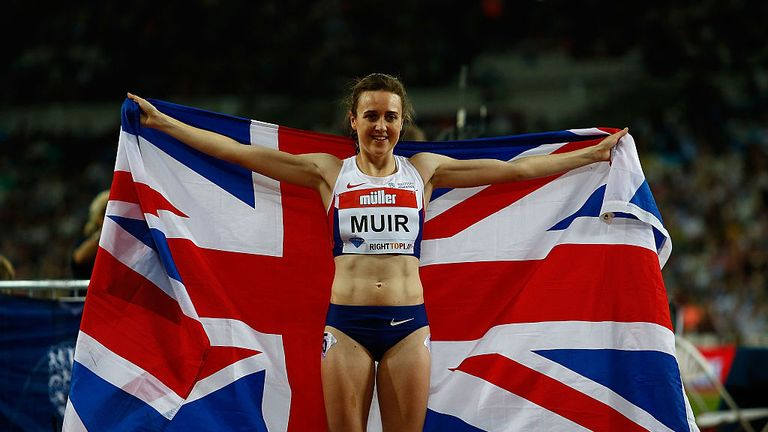 Laura Muir celebrates winning 1500m and breaking British record at London Anniversary Games in the summer