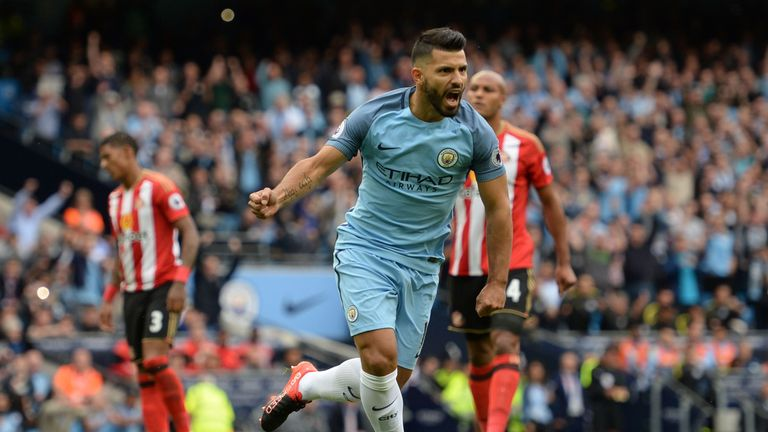 Manchester City striker Sergio Aguero celebrates the opening goal