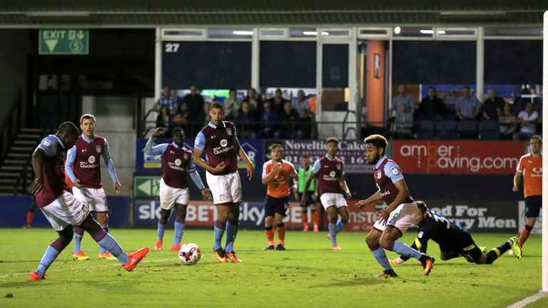Jores Okore (left) scored a calamitous own goal during Aston Villa's EFL Cup defeat to Luton