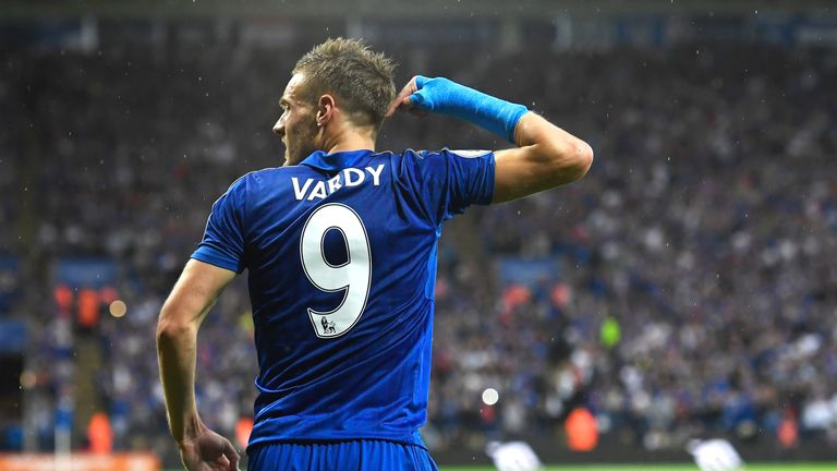 Jamie Vardy celebrates scoring for Leicester