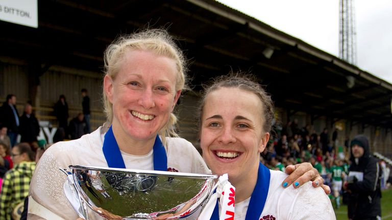 Tamara Taylor (left) and Katy McLean (right) celebrate winning the Women's Six Nations