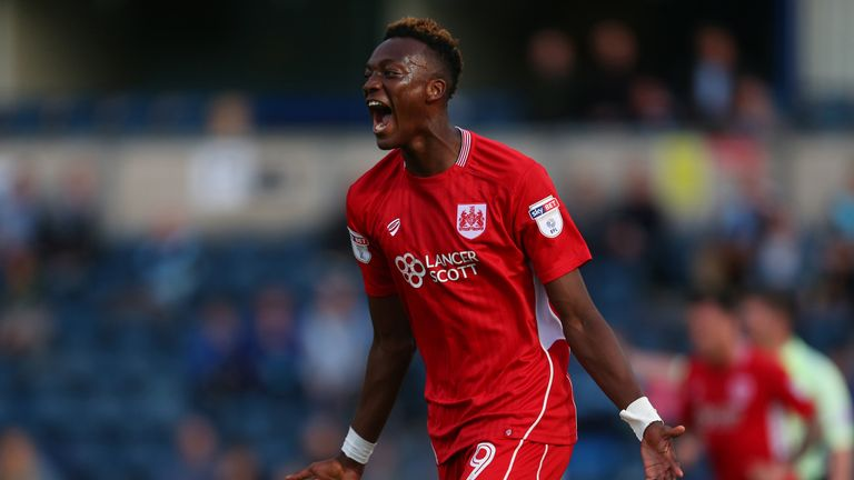 Tammy Abraham of Bristol City celebrates after scoring