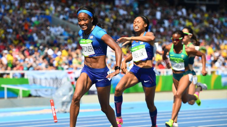 USA have been handed another chance in the women's 4x100m relay after Brazil were disqualified