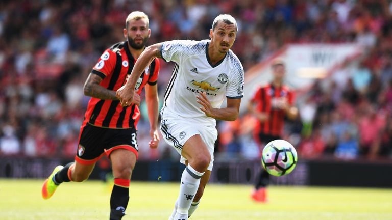 Ibrahimovic scored on his Premier League debut against Bournemouth