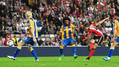 Adnan Januzaj scores the winner for Sunderland in the  EFL Cup second round match against Shrewsbury