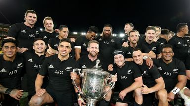 The All Blacks celebrate with the Bledisloe Cup after beating the Wallabies