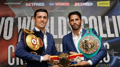Anthony Crolla and Jorge Linares pose with the Ring Magazine title (Lawrence Lustig)