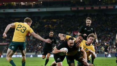 Israel Dagg of New Zealand scores a try against Australia
