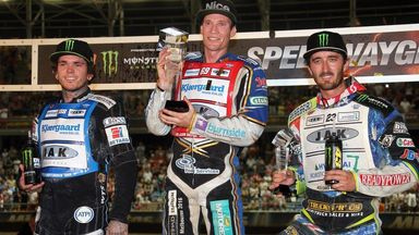 (L-R) Tai Woffinden, Jason Doyle and Chris Holder on the rostrum after the Speedway Grand Prix of Poland