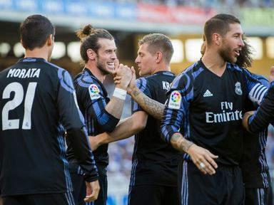 Gareth Bale and co celebrate going in front early on