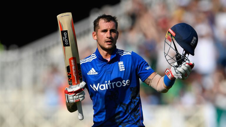 Alex Hales celebrates his century