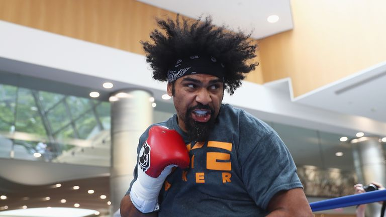 LONDON, ENGLAND - MAY 16:  David Haye of Great Britain takes part in his media work out ahead of his fight against Arnold Gjergjaj at Jubilee Place, Canary