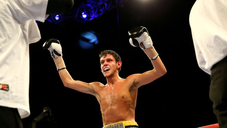 SHEFFIELD, ENGLAND - MARCH 28:  New champion Gavin McDonnell of Great Britain celebrates his victory over Oleksandr Yegorov of Ukraine during the vacant eu