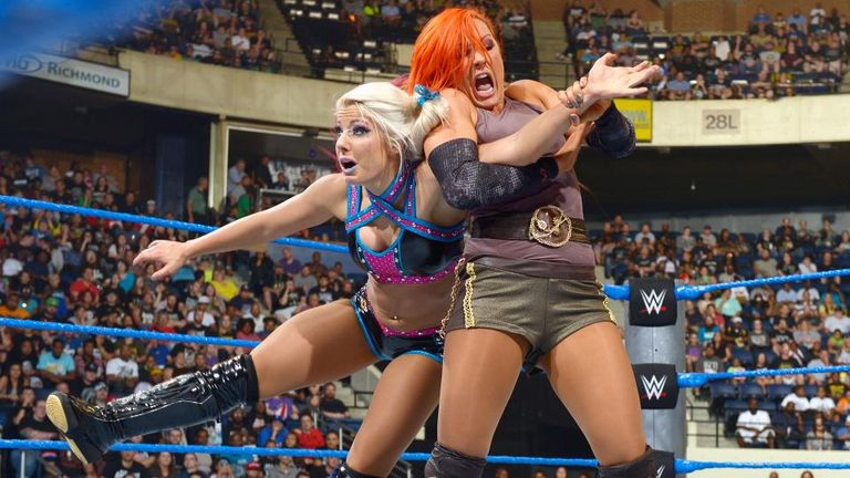 Lynch grapples with Bliss in the Women's Title match