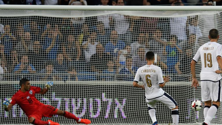 Antonio Candreva of Italy scores from the penalty spot in Israel