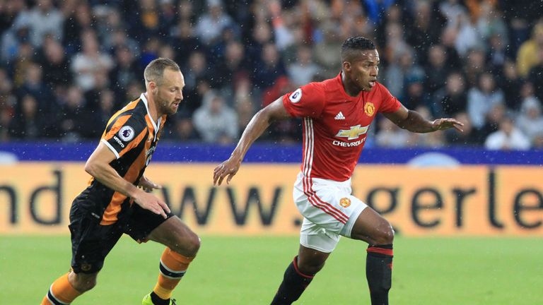 Manchester United midfielder Antonio Valencia (R) could miss out on the Manchester derby