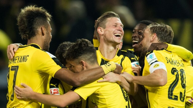 Dortmund players celebrate win over Freiburg